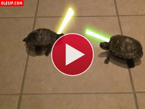 GIF: Tortugas con espadas láser