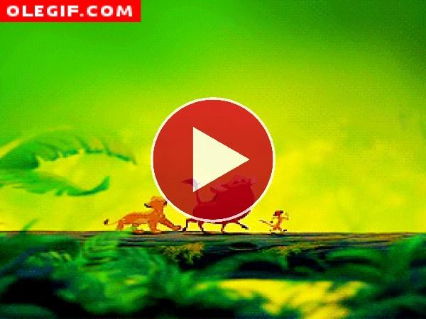 GIF: Simba cantando (El Rey León)