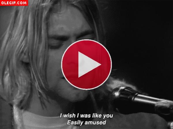 GIF: Kurt Cobain cantando