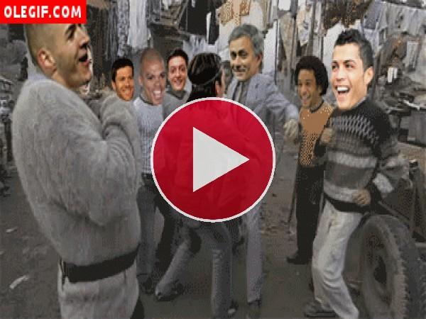 GIF: Jugadores del Real Madrid de fiesta