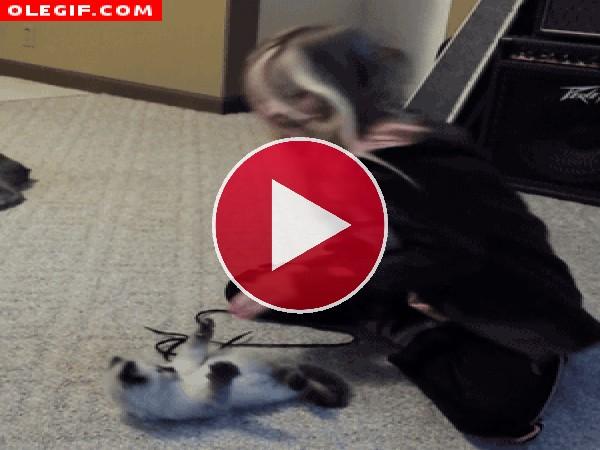 Pero qué listo es este gatito, hace los mismos movimientos que la niña