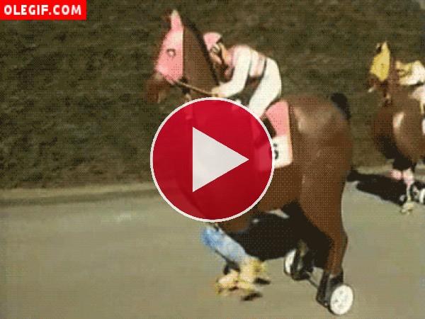 Traspiés bajo un caballo a ruedas