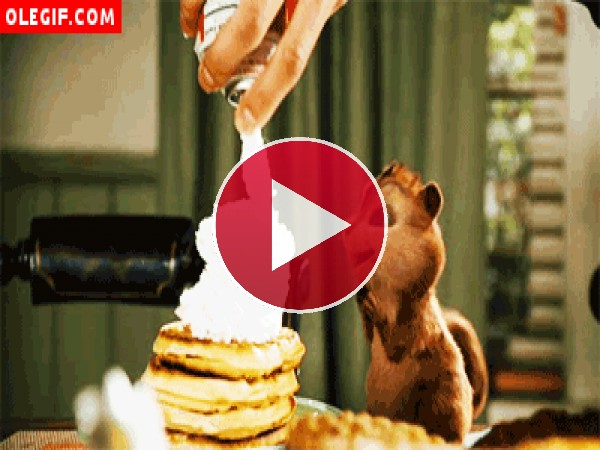 GIF: A Alvin le gustan los panqueques con mucha nata montada