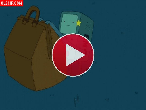 GIF: Beemo recargándose las pilas (Adventure Time)