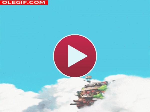 GIF: El Castillo Ambulante apareciendo de entre las nubes