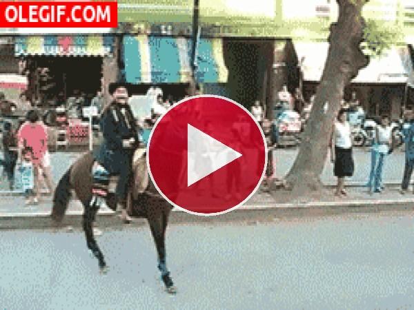 Menudo culetazo se dan el hombre y el caballo
