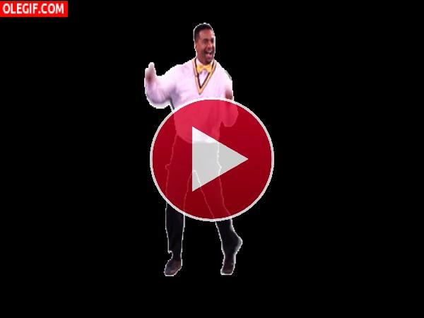 GIF: Carlton bailando con una pajarita amarilla