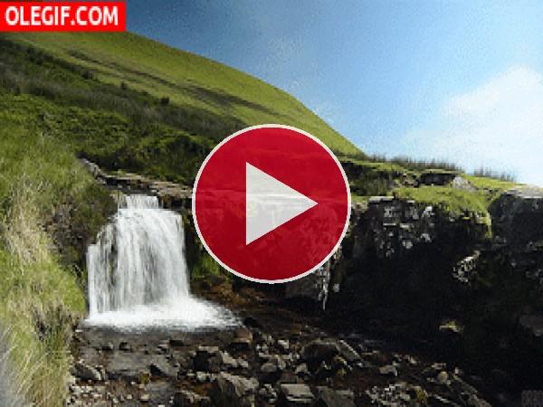 GIF: Riachuelo fluyendo por la montaña