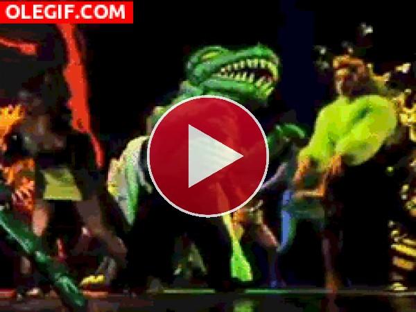 GIF: Un dinosaurio bailarín