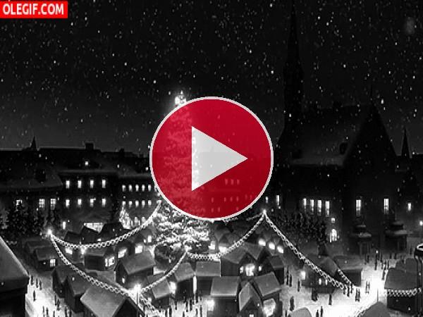 GIF: Copos de nieve cayendo en Navidad