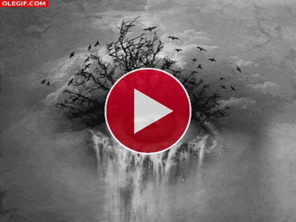 Naturaleza emergiendo de un ojo