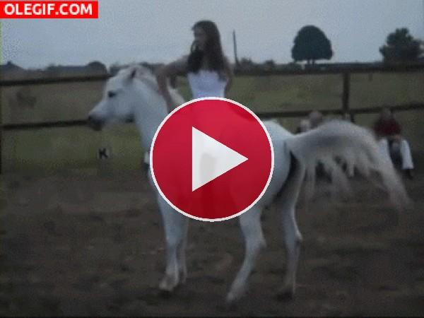 GIF: Acrobacias sobre un caballo blanco