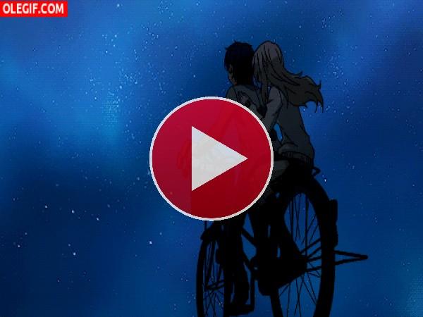 GIF: Kōsei y Kaori en bicicleta bajo las estrellas