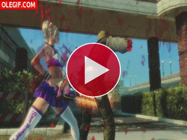 GIF: Te cortaré en dos... zombi malo