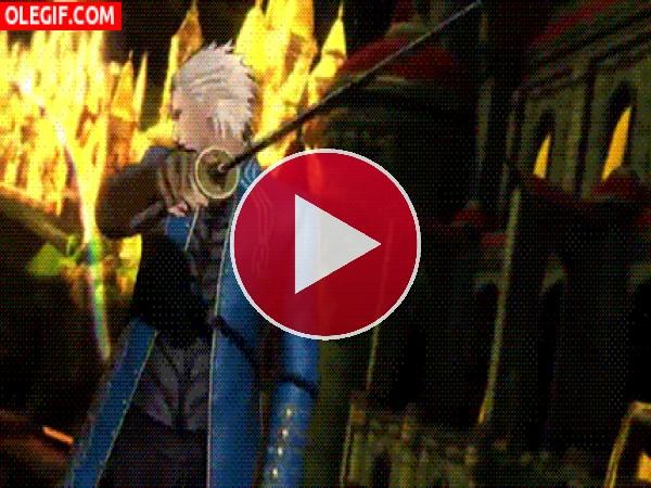 Vergil guardando su espada