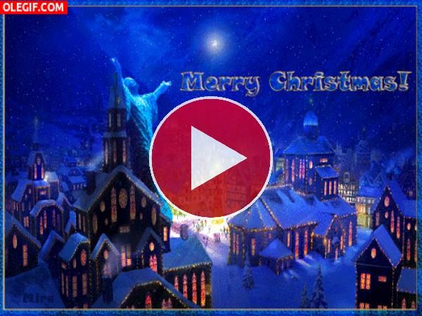 ¡Feliz Navidad! con luces y fuegos artificiales