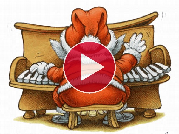 GIF: Qué bien toca el piano Santa Claus en Navidad