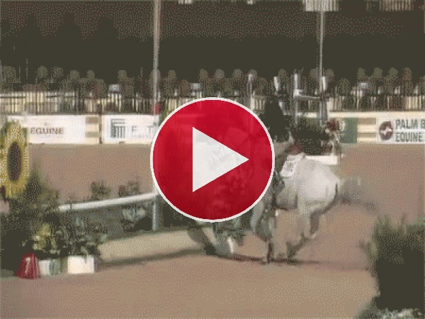 GIF: Jinete y caballo saltando un obstáculo
