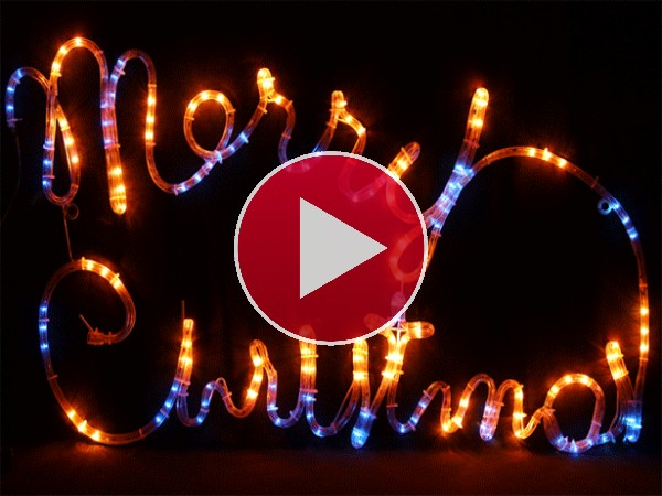 "GIF: Un luminoso de ""Merry Christmas"""
