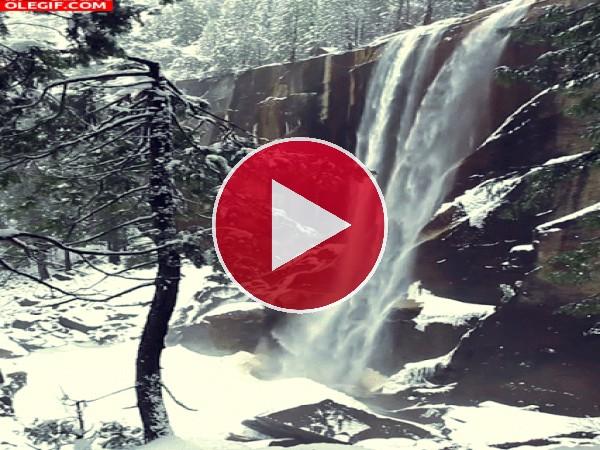 Cascada fluyendo en invierno