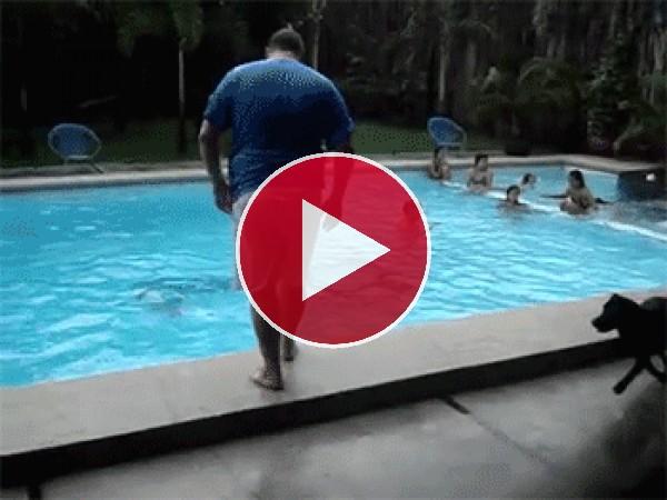 GIF: Mira a este perro tirando a un hombre al agua