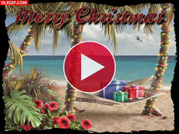 GIF: Feliz Navidad desde una playa