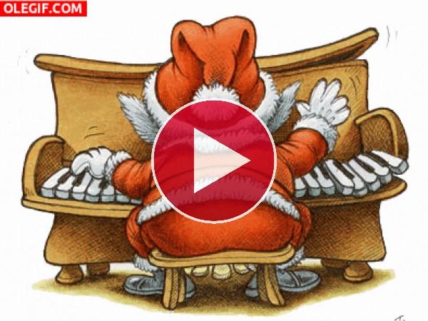 Papá Noel tocando el piano en Navidad