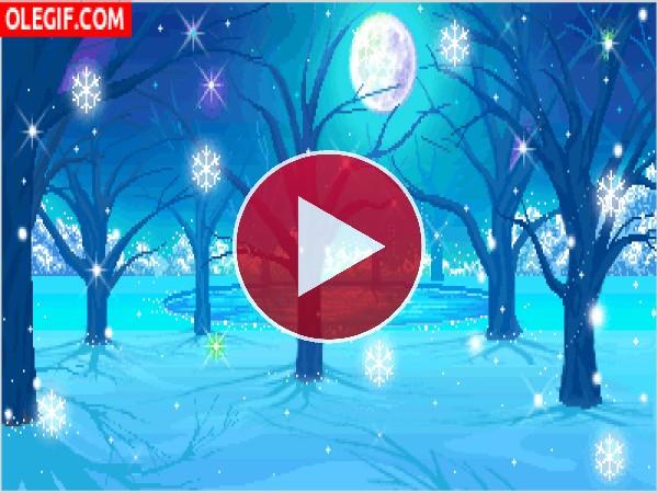 GIF: Copos de nieve en una noche de luna llena