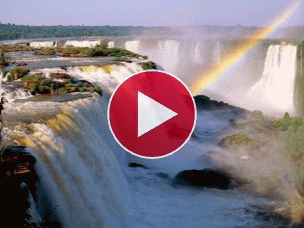 GIF: Arcoíris sobre las cataratas del Iguazú