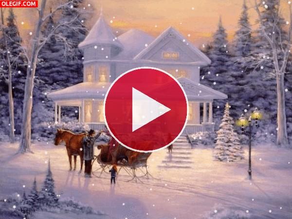 GIF: Copos de nieve en Navidad