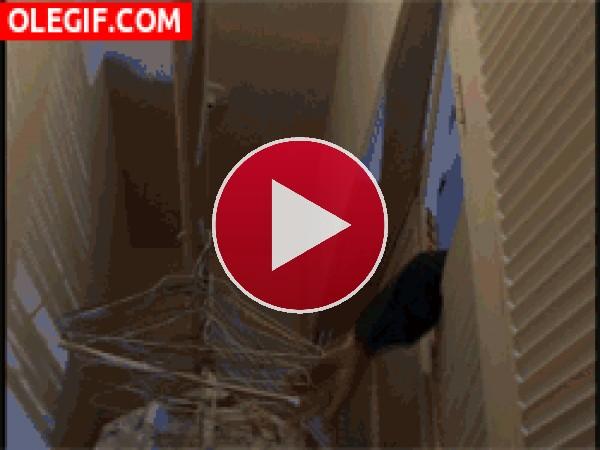 Jason entrando en el armario