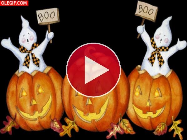 GIF: Fantasmas y calabazas para festejar Halloween