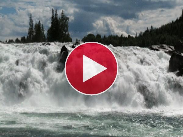 GIF: Gran cantidad de agua en el río