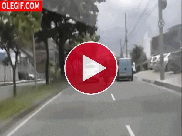 GIF: Este motorista es un imprudente