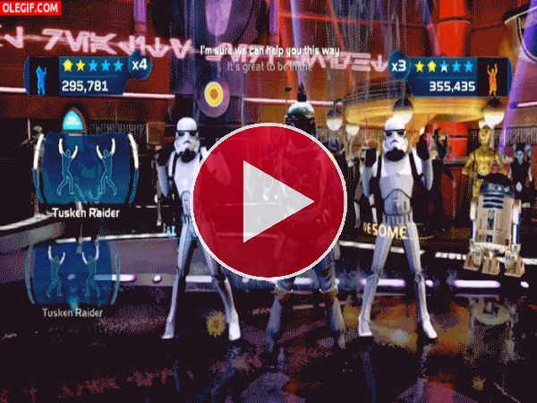 Baile en una fiesta de Star Wars