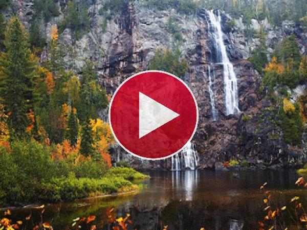 GIF: Cascadas cayendo desde una pared de roca