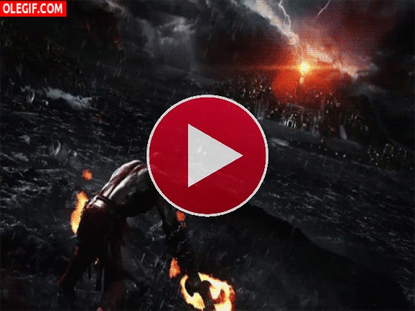 "GIF: Kratos con fuego en las manos ""God of War"""
