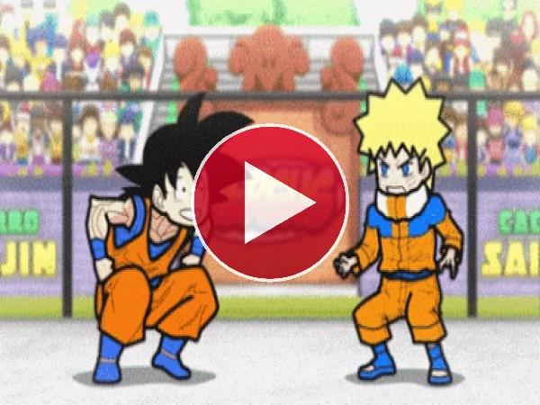 Goku peleando contra Naruto