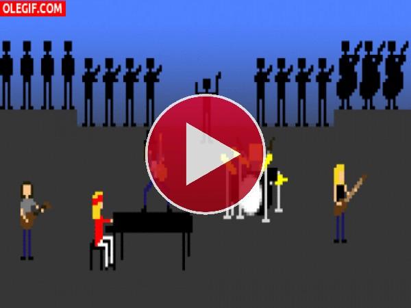 GIF: Una banda de música con orquesta