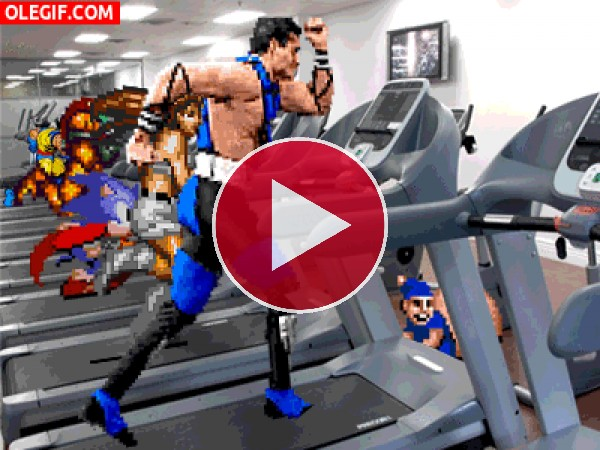 Personajes de videojuegos entrenando en el gimnasio