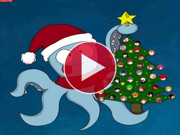 """GIF: Navidad con la """"Familia Usaka"""""""