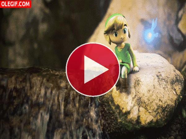 Link sentado en una roca