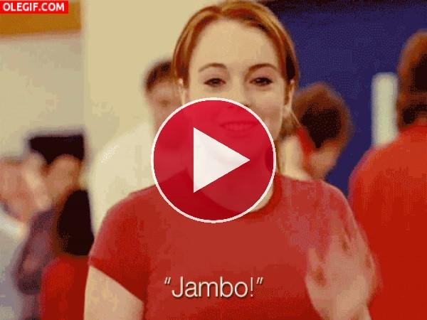 GIF: Lindsay Lohan diciendo ¡Jambo!