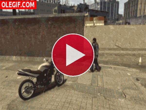 GIF: Un caballo volando en moto