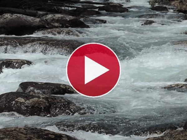 Agua de río fluyendo entre las piedras