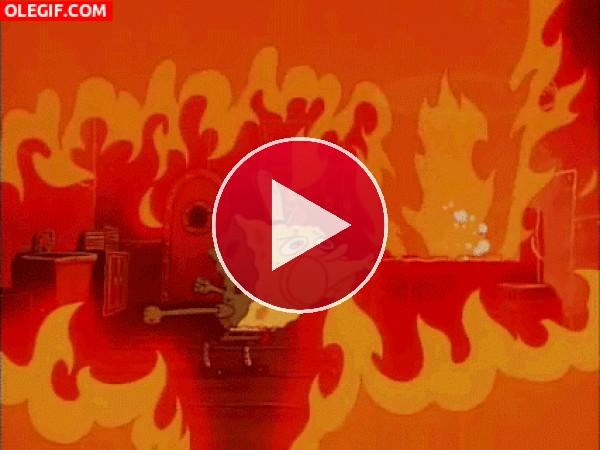 GIF: ¡Bob Esponja se quema!