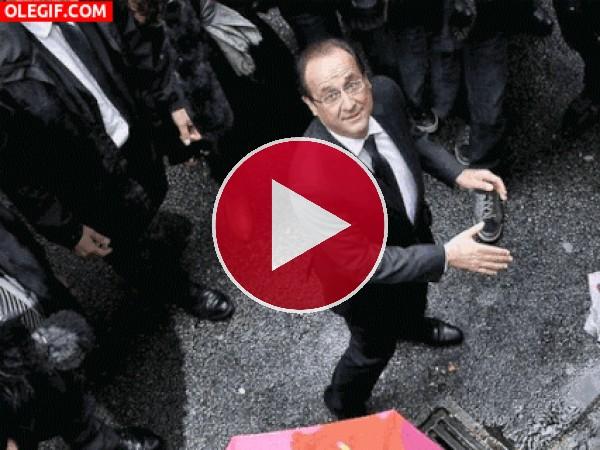 GIF: Cagada sobre François Hollande