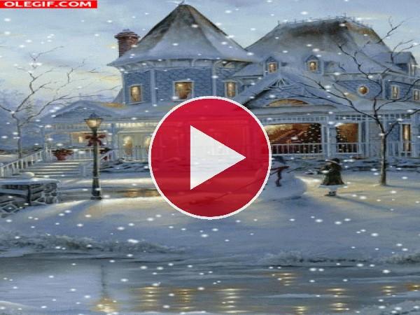 GIF: Haciendo un muñeco de nieve en Navidad