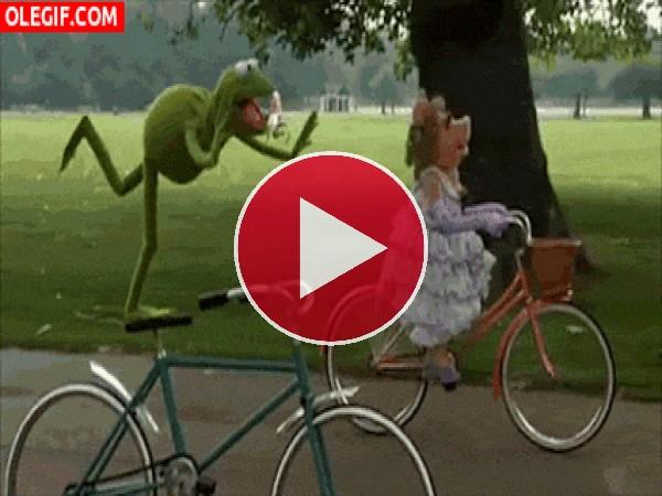 GIF: La Rana Gustavo paseando en bici con Peggy