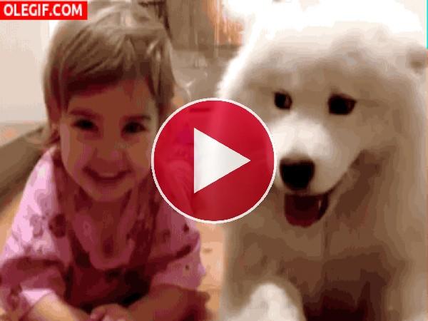 Las risas de una niña junto a su perro
